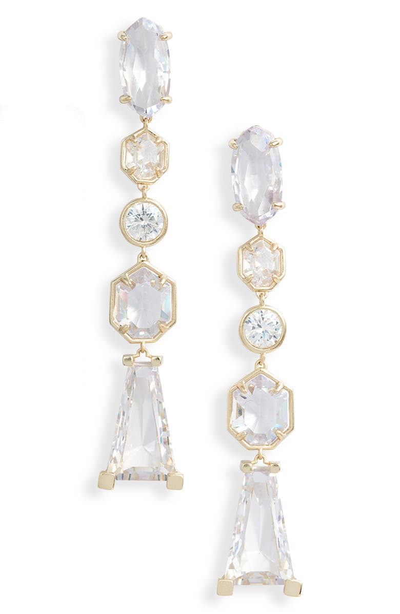 KENDRA SCOTT Gracelynn Linear Drop Earrings, Main, color, GOLD LUSTRE/ GLASS CZ
