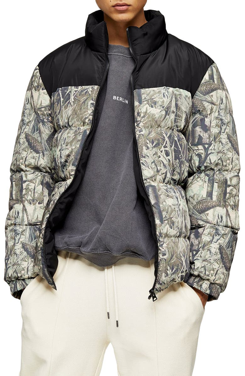 TOPMAN Classic Fit Foliage Print Puffer Coat, Main, color, BLACK MULTI