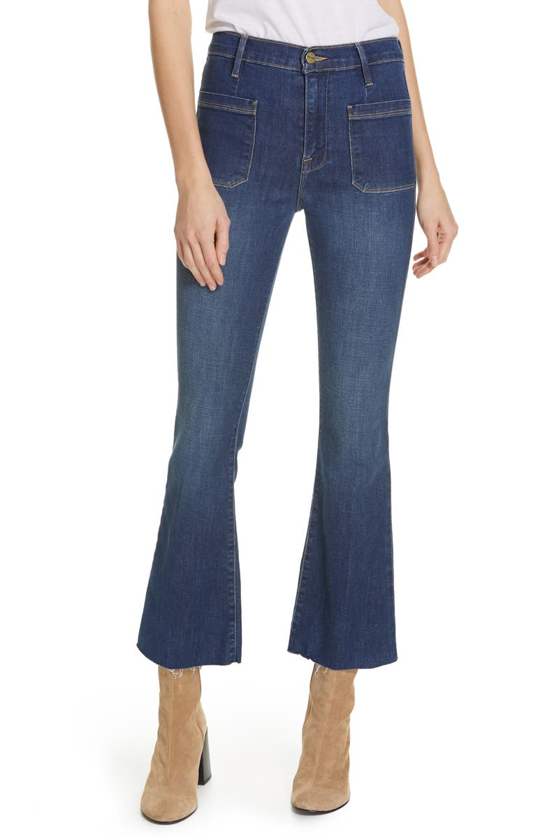 FRAME Le Bardot Patch Pocket Crop Flare Jeans, Main, color, 420