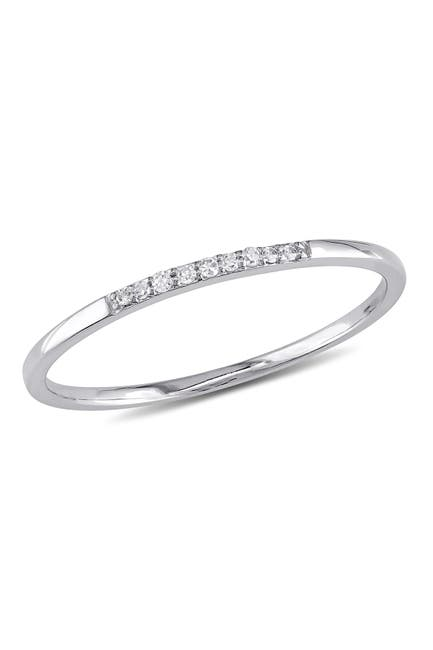 Image of Delmar 10K White Gold Slim Diamond Ring - 0.04 ctw