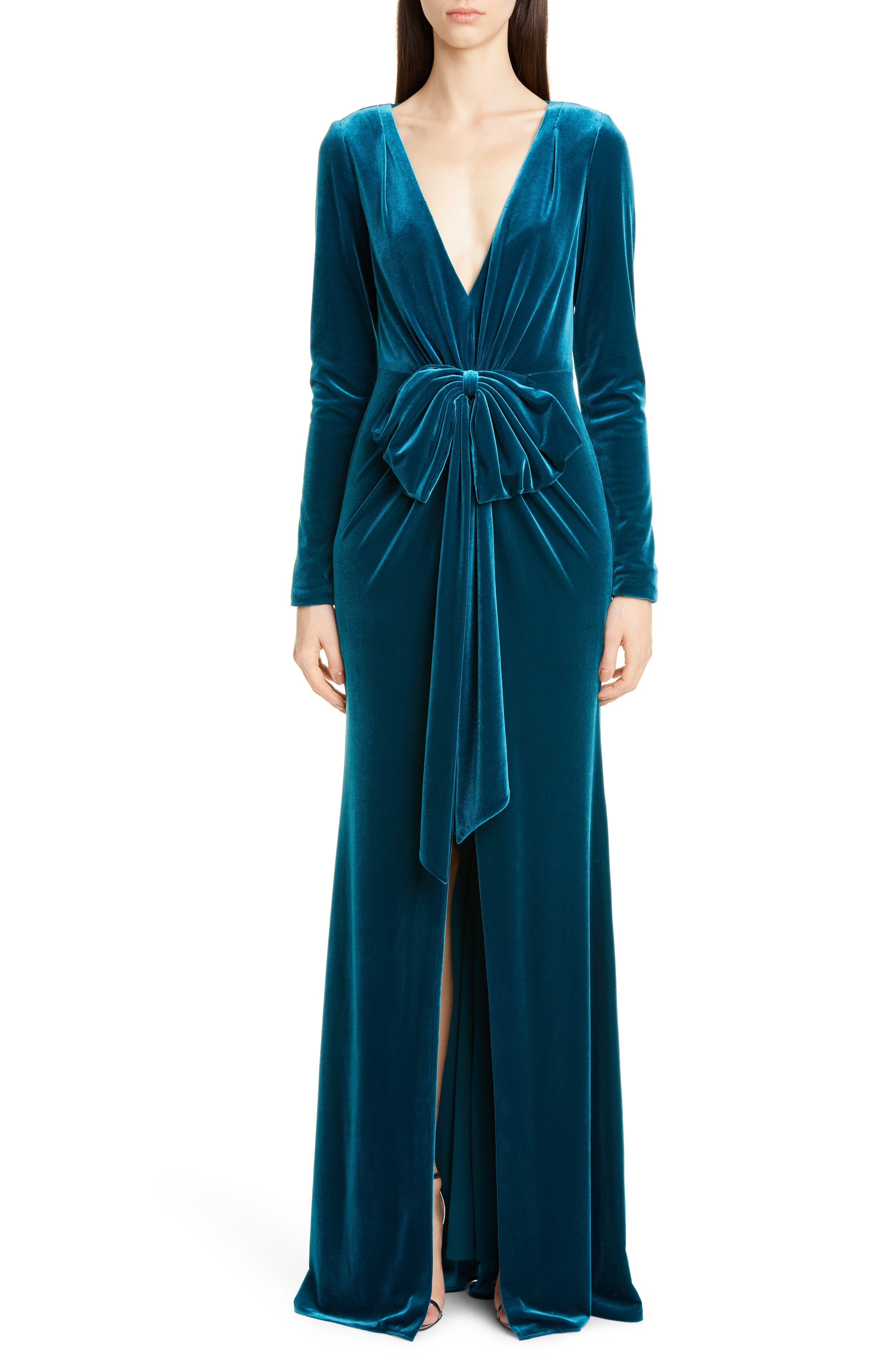1920s Formal Dresses & Evening Gowns Guide Womens Badgley Mischka Collection Bow Front Long Sleeve Velvet Gown $695.00 AT vintagedancer.com