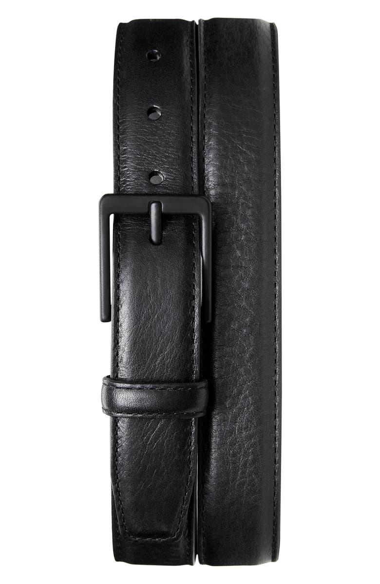 SHINOLA Guardian Leather Belt Set, Main, color, BLACK WHISKEY