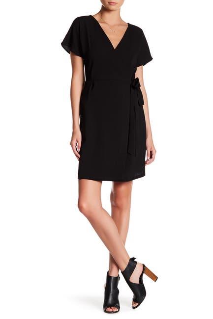 Image of Bobeau Short Sleeve Crepe Wrap Dress