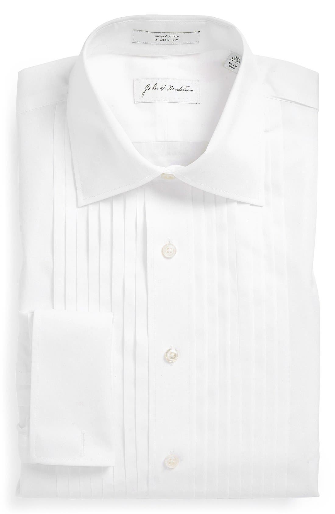 ,                             Classic Fit French Cuff Tuxedo Shirt,                             Main thumbnail 1, color,                             100