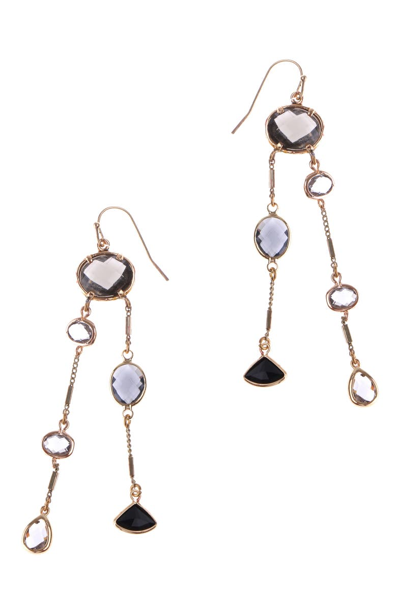 NAKAMOL CHICAGO Double Linear Drop Earrings, Main, color, BLACK/ GOLD/ GOLD