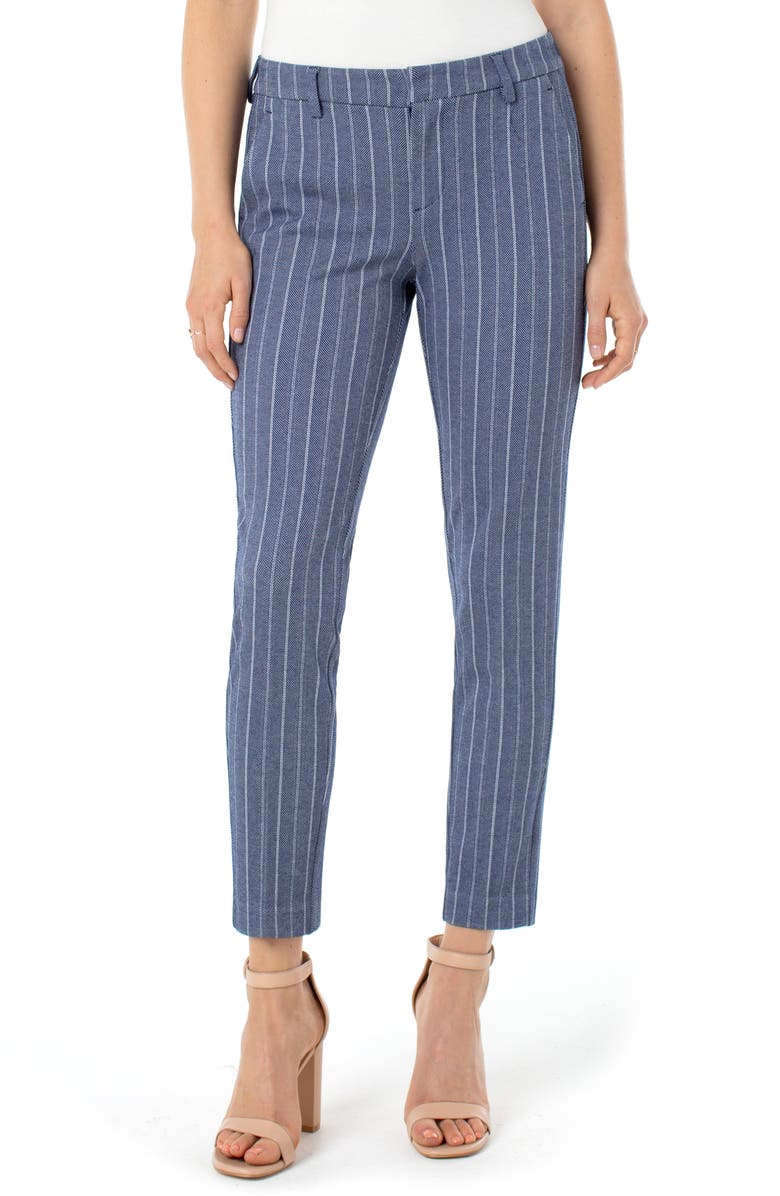 LIVERPOOL Kelsey Knit Trousers, Main, color, BLUE/ WITH HERRINBONE STRIPE