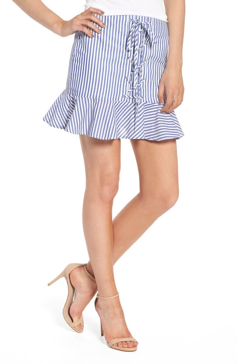 J.O.A. Lace-Up Ruffle Miniskirt, Main, color, WHITE/ NAVY