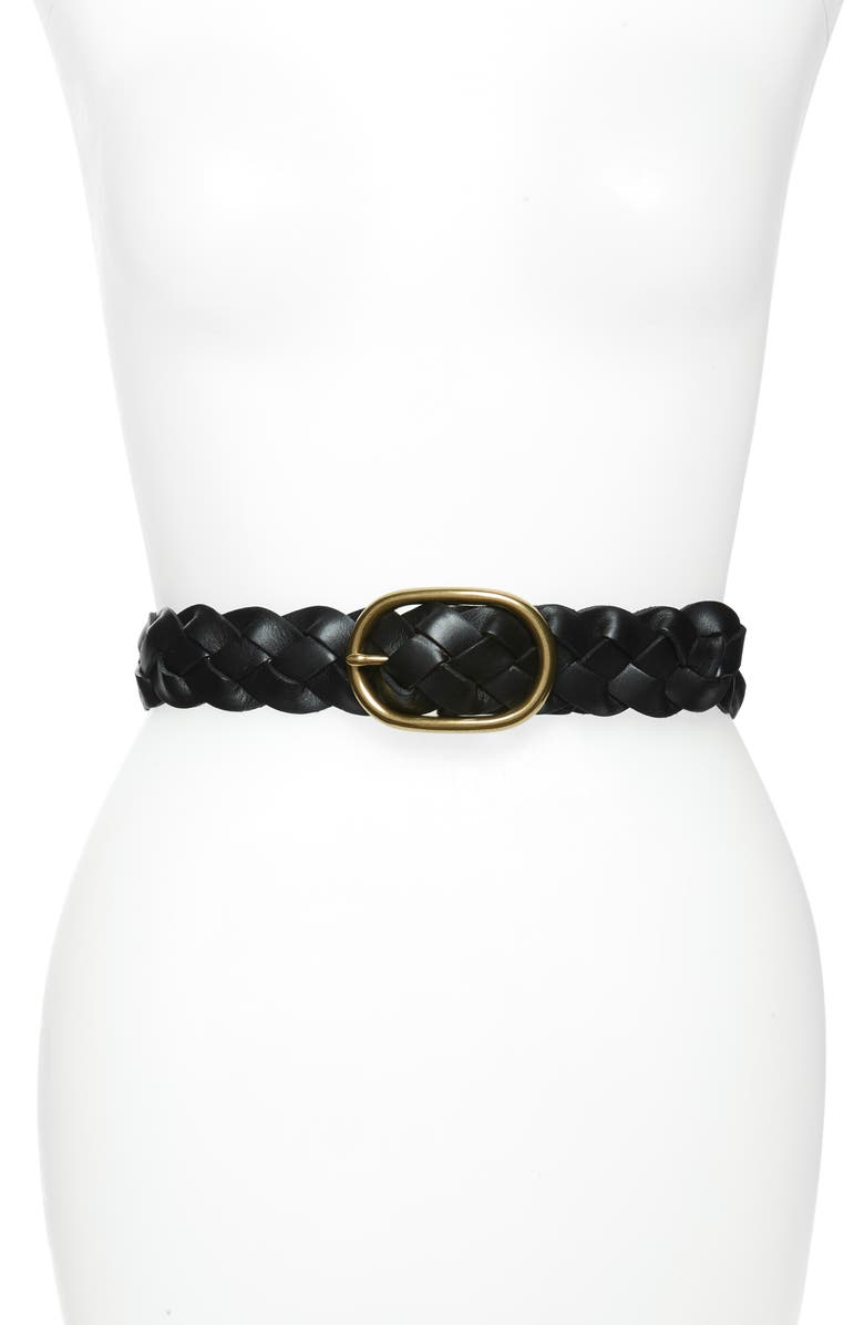 TREASURE & BOND Braided Leather Belt, Main, color, BLACK
