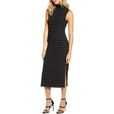 Paige Danisha Metallic Stripe Mock Neck Midi Dress, Black