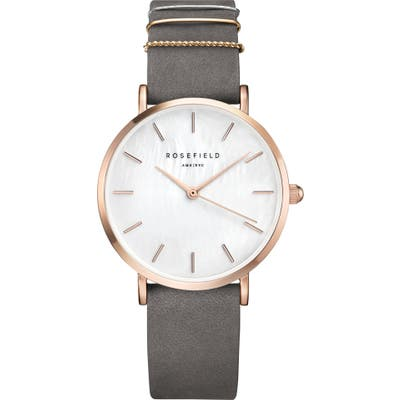 Rosefield Holiday Leather Strap Watch & Bracelet Gift Set,