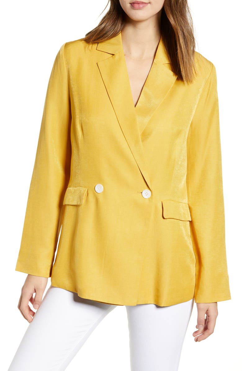 ENGLISH FACTORY Double Breasted Blazer, Main, color, YELLOW
