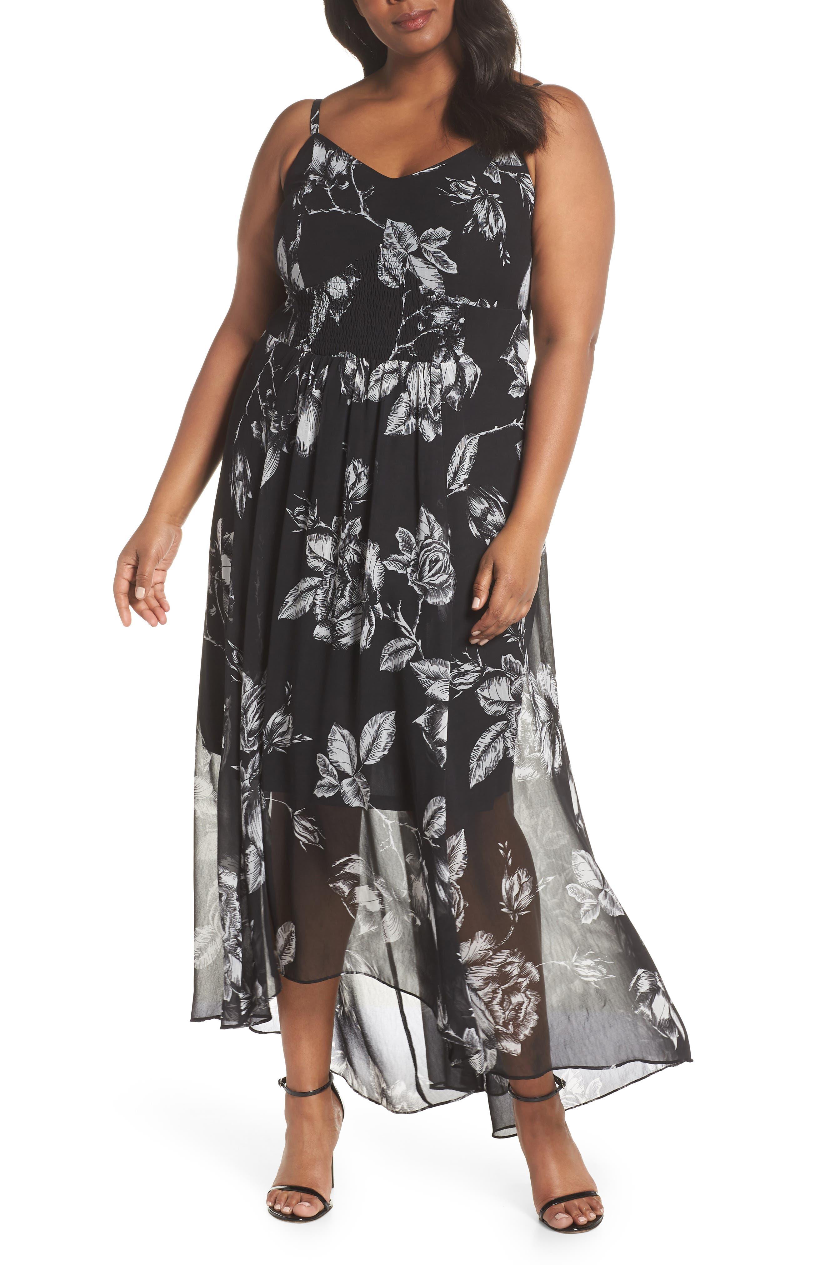 Plus Size City Chic Mono Rose Maxi Dress, Black