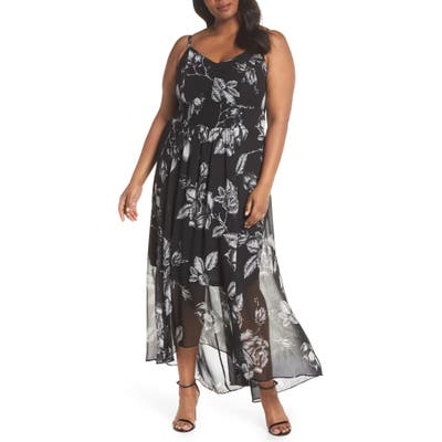 Plus Size City Chic Mono Rose Maxi Dress, Black