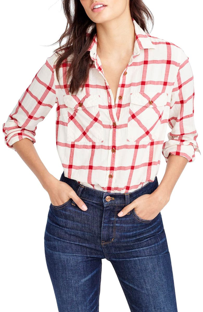 J.CREW Vintage Red Plaid Boyfriend Shirt, Main, color, 649