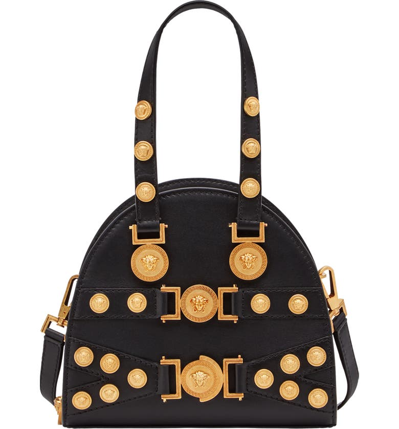 VERSACE Small Tribute Studded Leather Satchel, Main, color, BLACK/ TRIBUTE GOLD