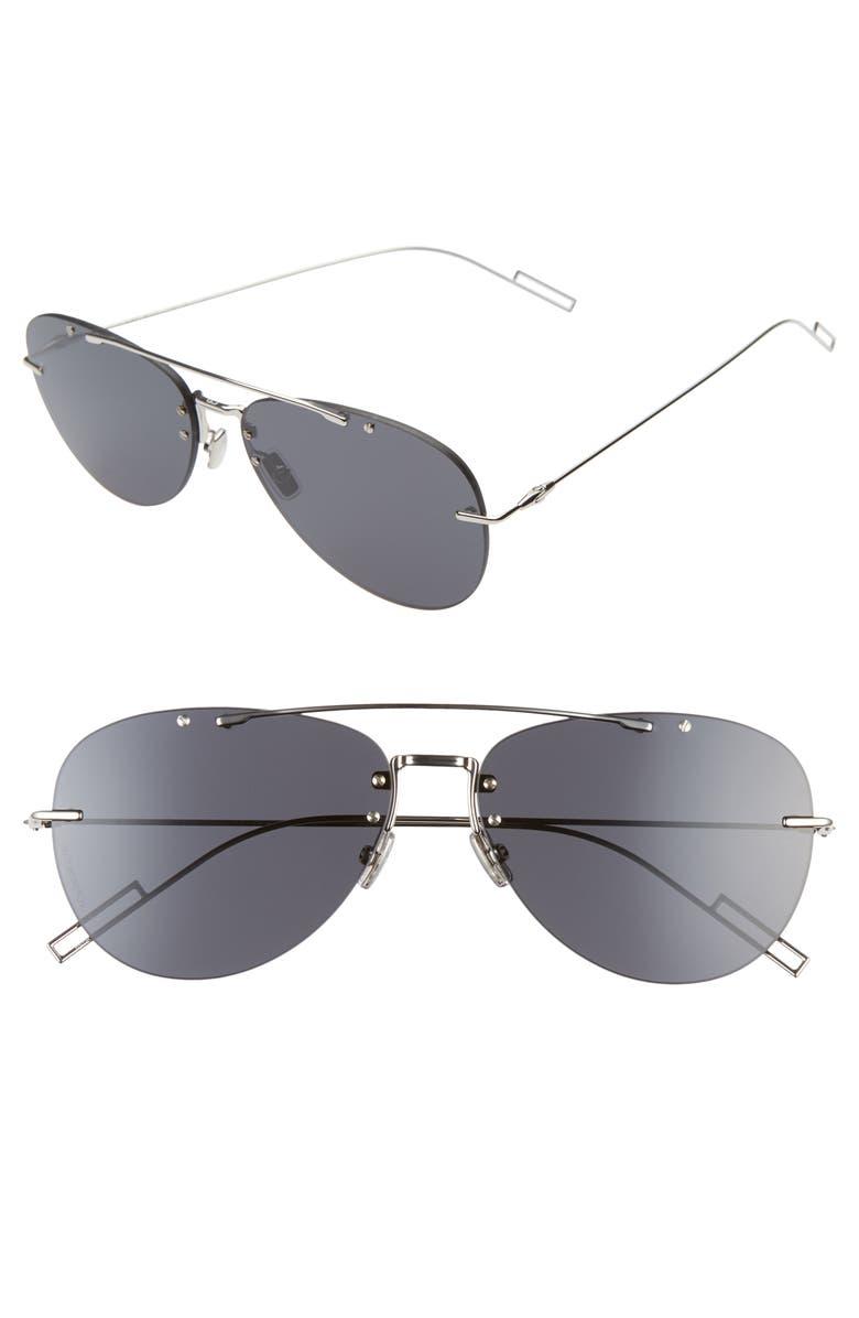 DIOR Blacktie 56mm Aviator Sunglasses, Main, color, BLACK/GRAY