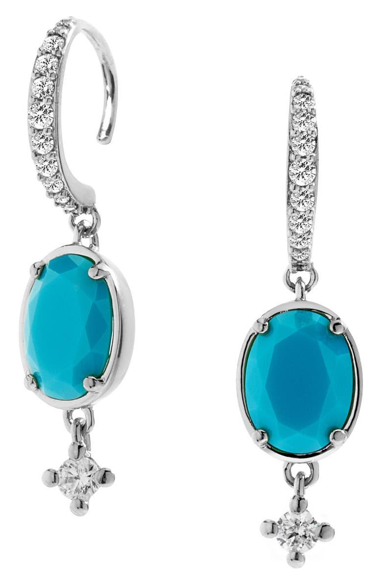 NADRI Issa Stone Drop Earrings, Main, color, RHODIUM/ CUBIC ZIRCONIA