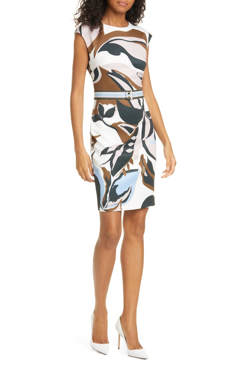 TED BAKER LONDON Liziiey Masquerade Print Sheath Dress, Main, color, 115