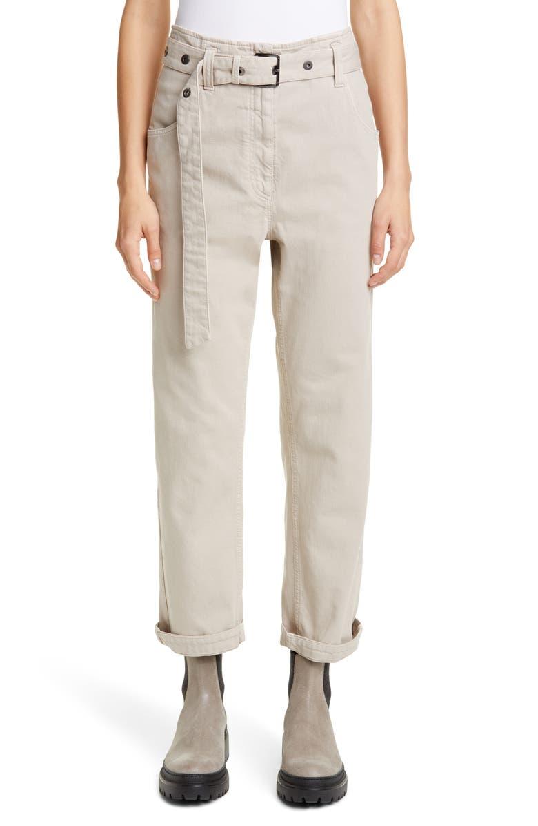 BRUNELLO CUCINELLI Belted High Waist Straight Leg Jeans, Main, color, DESERT