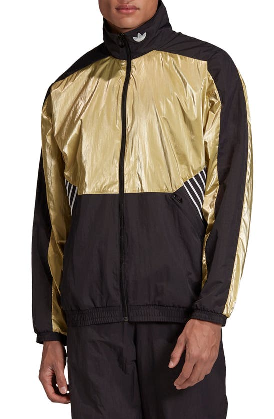Adidas Originals Tolima-02 Track Jacket In Black/ Metallic Gold