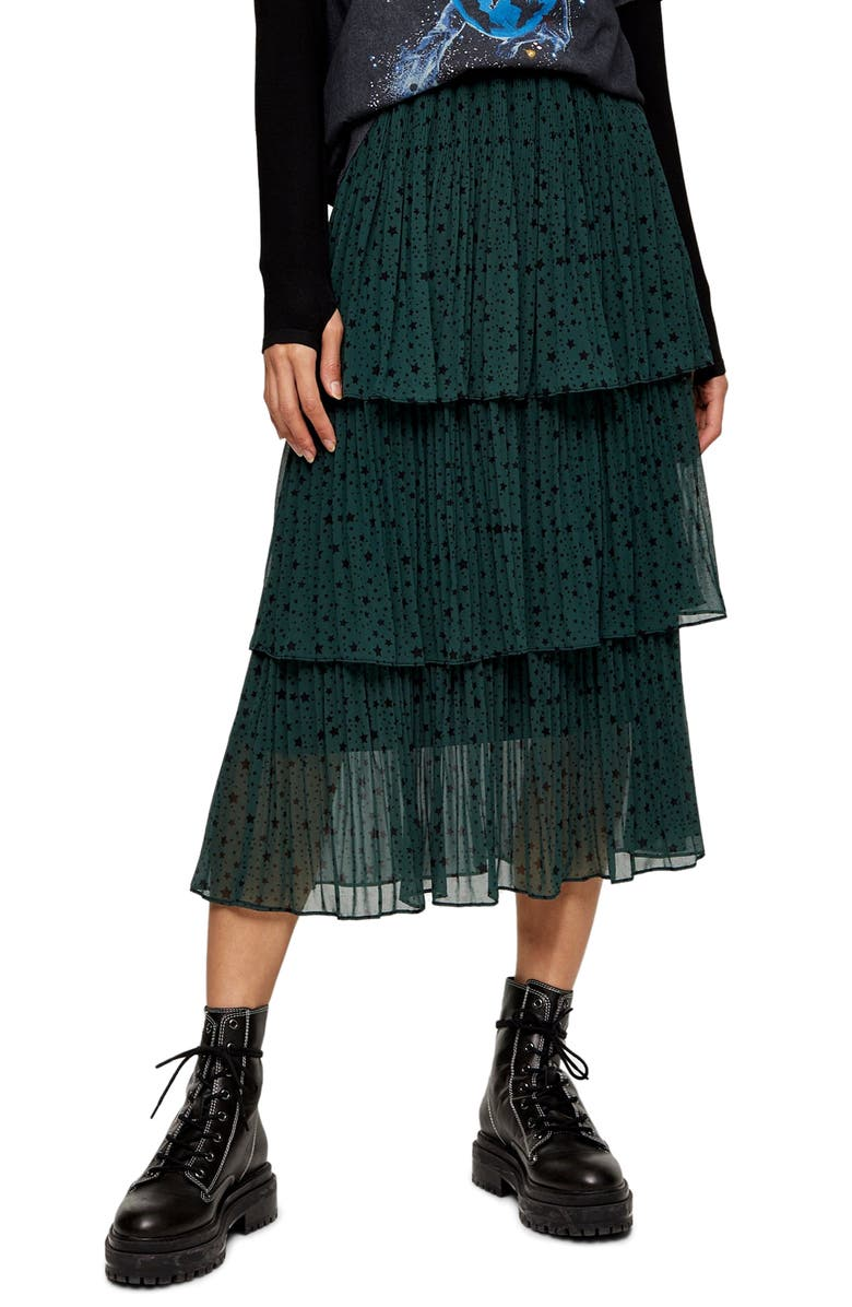 TOPSHOP Star Tiered Pleated Midi Skirt, Main, color, GREEN MULTI