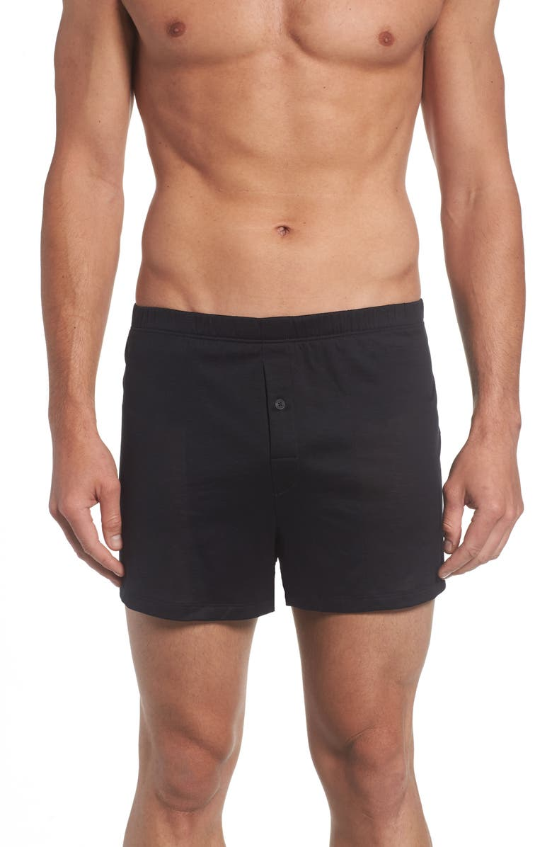 HANRO Cotton Sporty Knit Boxers, Main, color, BLACK
