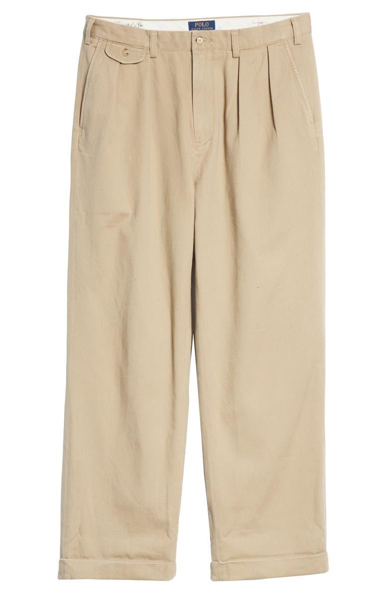 POLO RALPH LAUREN Big Pleated Chino Pants, Main, color, BOATING KHAKI
