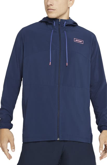Nike Sport Clash Full Zip Hooded Training Jacket In Midnight Navy/sunset Pulse