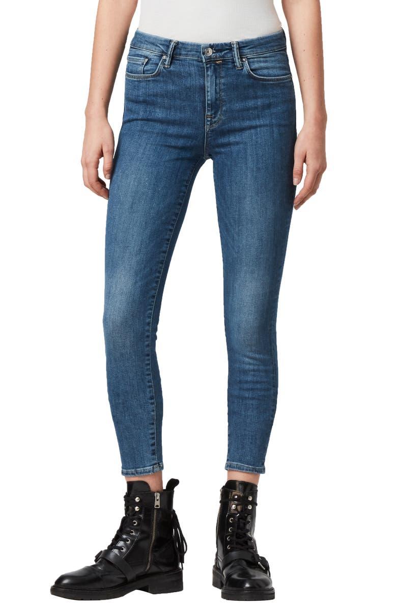 ALLSAINTS Grace Skinny Jeans, Main, color, FRESH BLUE