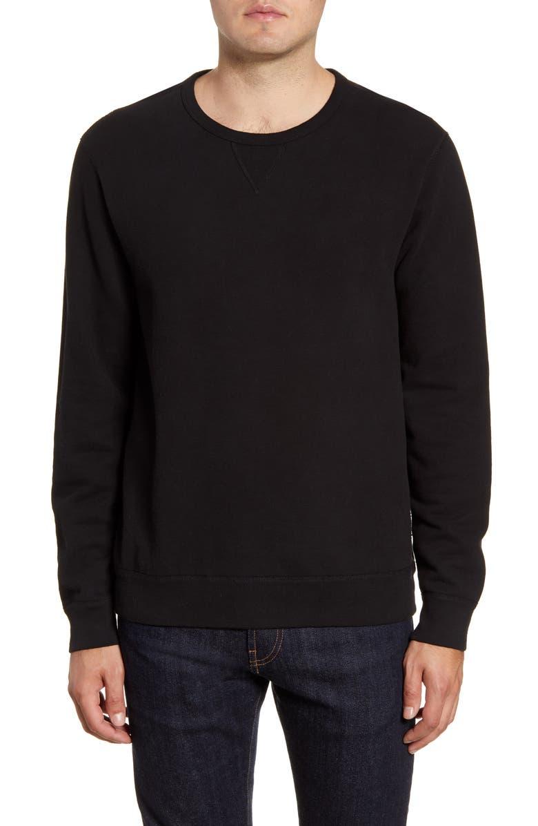 PAIGE Brysen Regular Fit Crewneck Sweatshirt, Main, color, BLACK