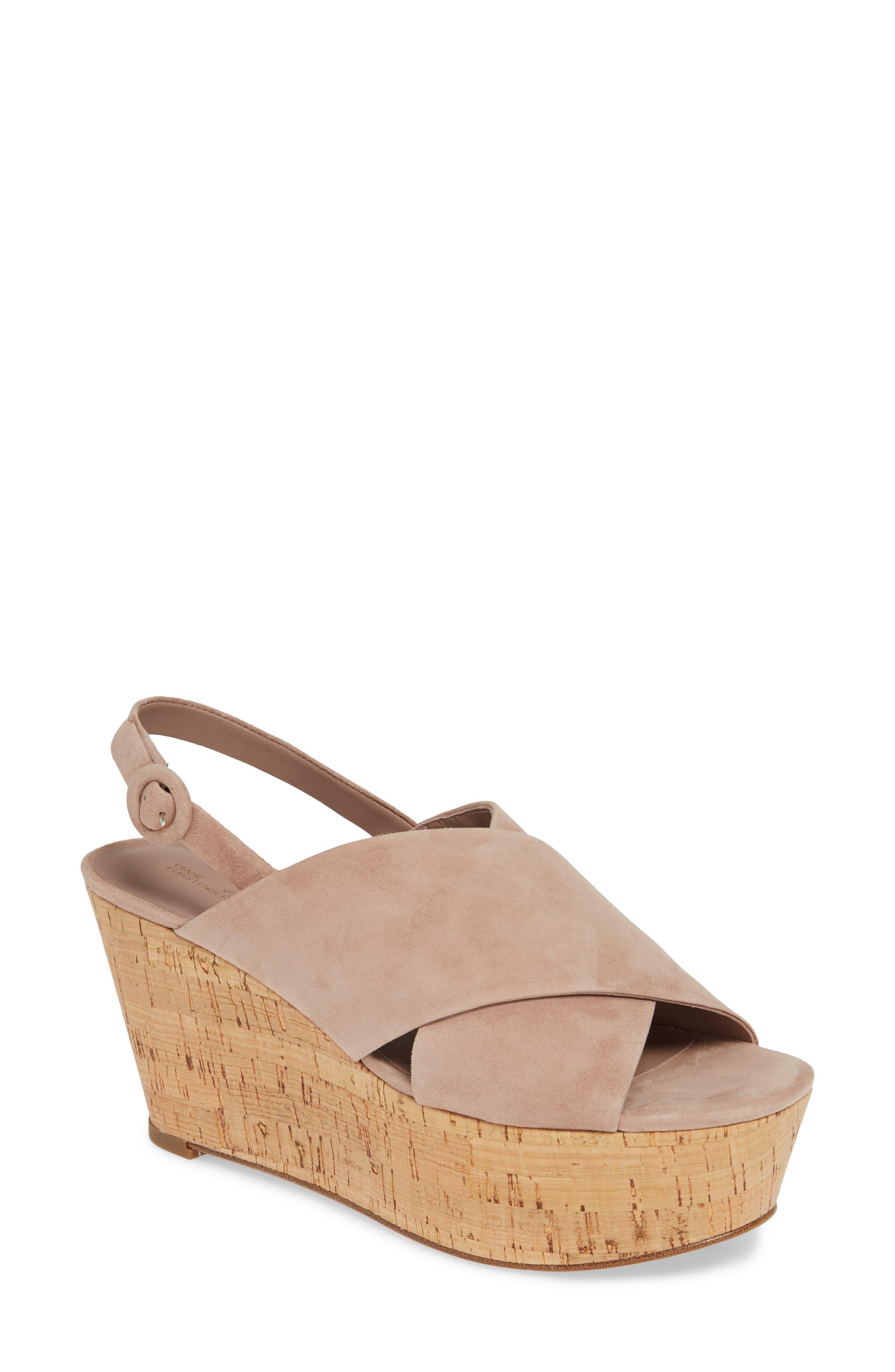 Diane Von Furstenberg Juno Wedge Sandal- Pink