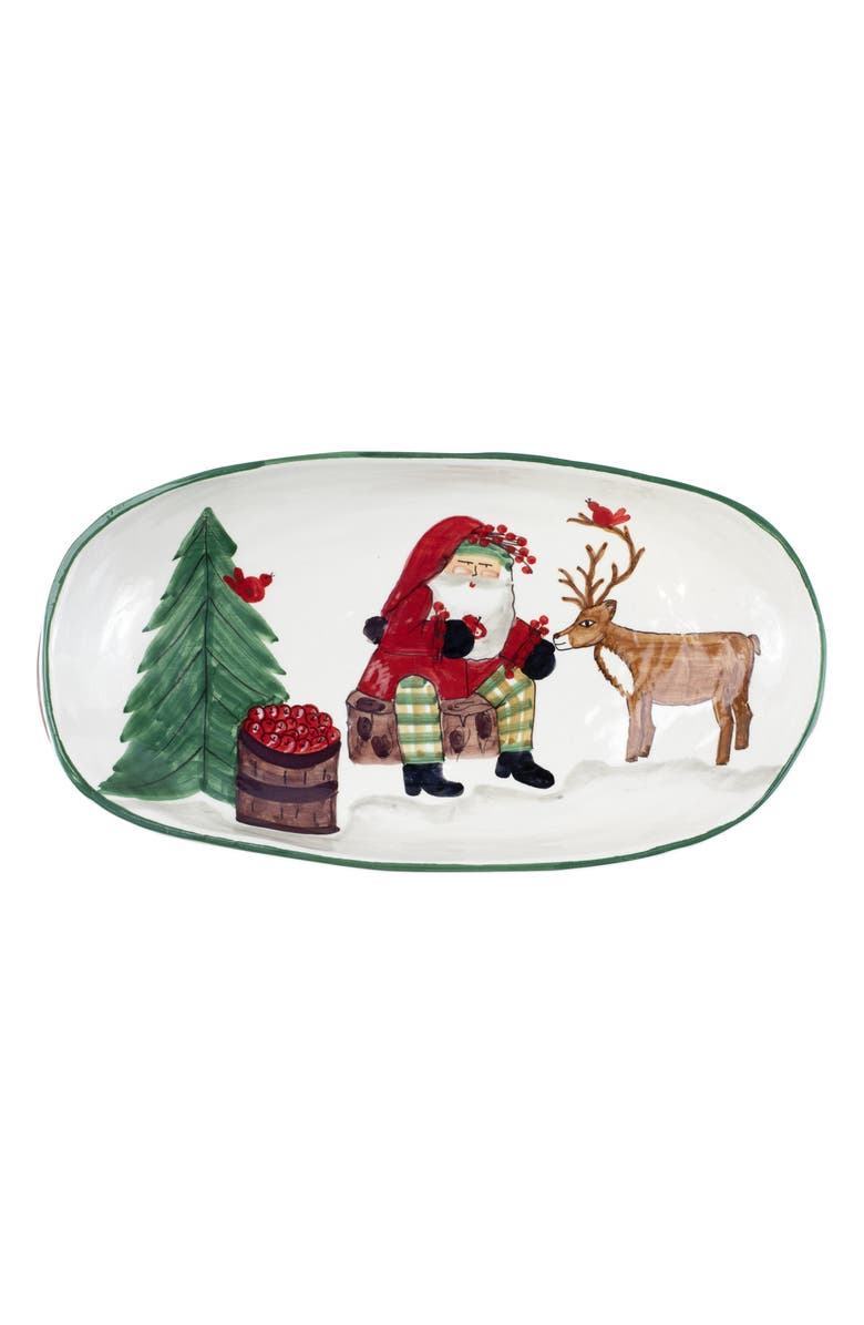 VIETRI Old St. Nick Shallow Oval Bowl, Main, color, MULTI