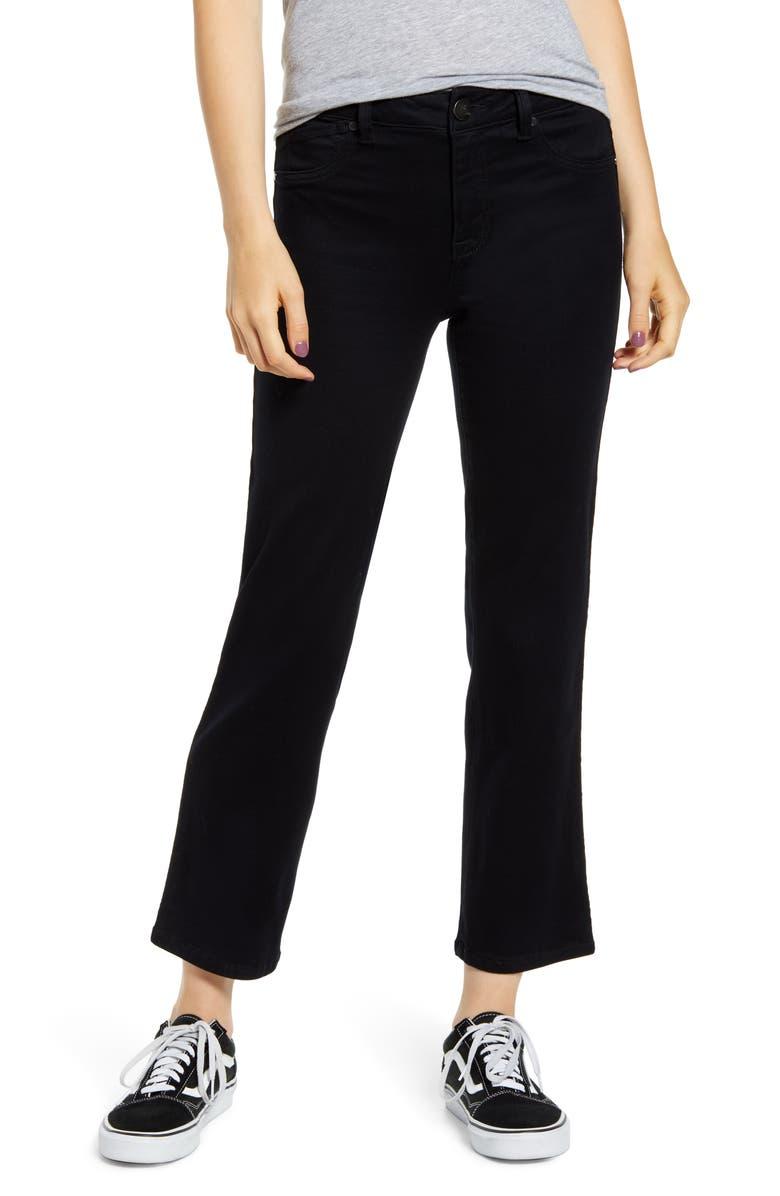 1822 DENIM Butter High Waist Ankle Straight Leg Jeans, Main, color, BLACK