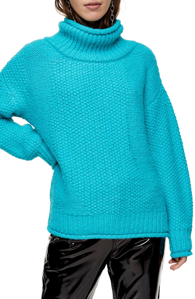 TOPSHOP Mixed Stitch Roll Neck Sweater, Main, color, BLUE