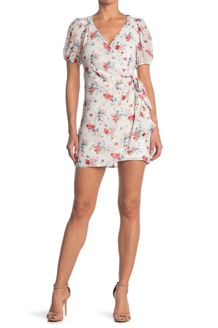 Image of Collective Concepts Short Sleeve Floral Print Wrap Dress