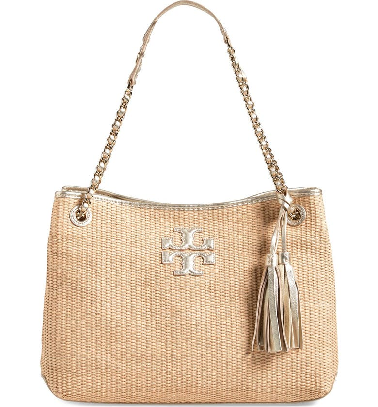 TORY BURCH 'Thea' Straw Tote, Main, color, 250