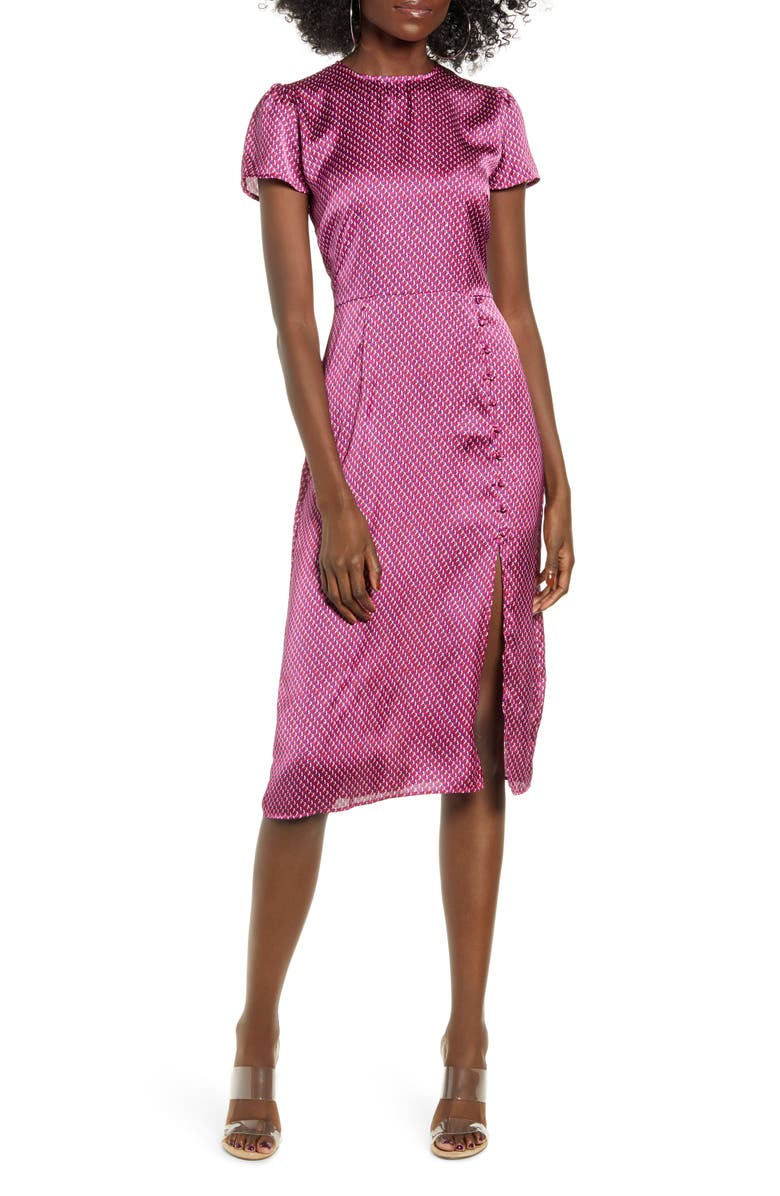 LEITH Printed Side Slit Dress, Main, color, PINK PLUMIER FRANCES GEO