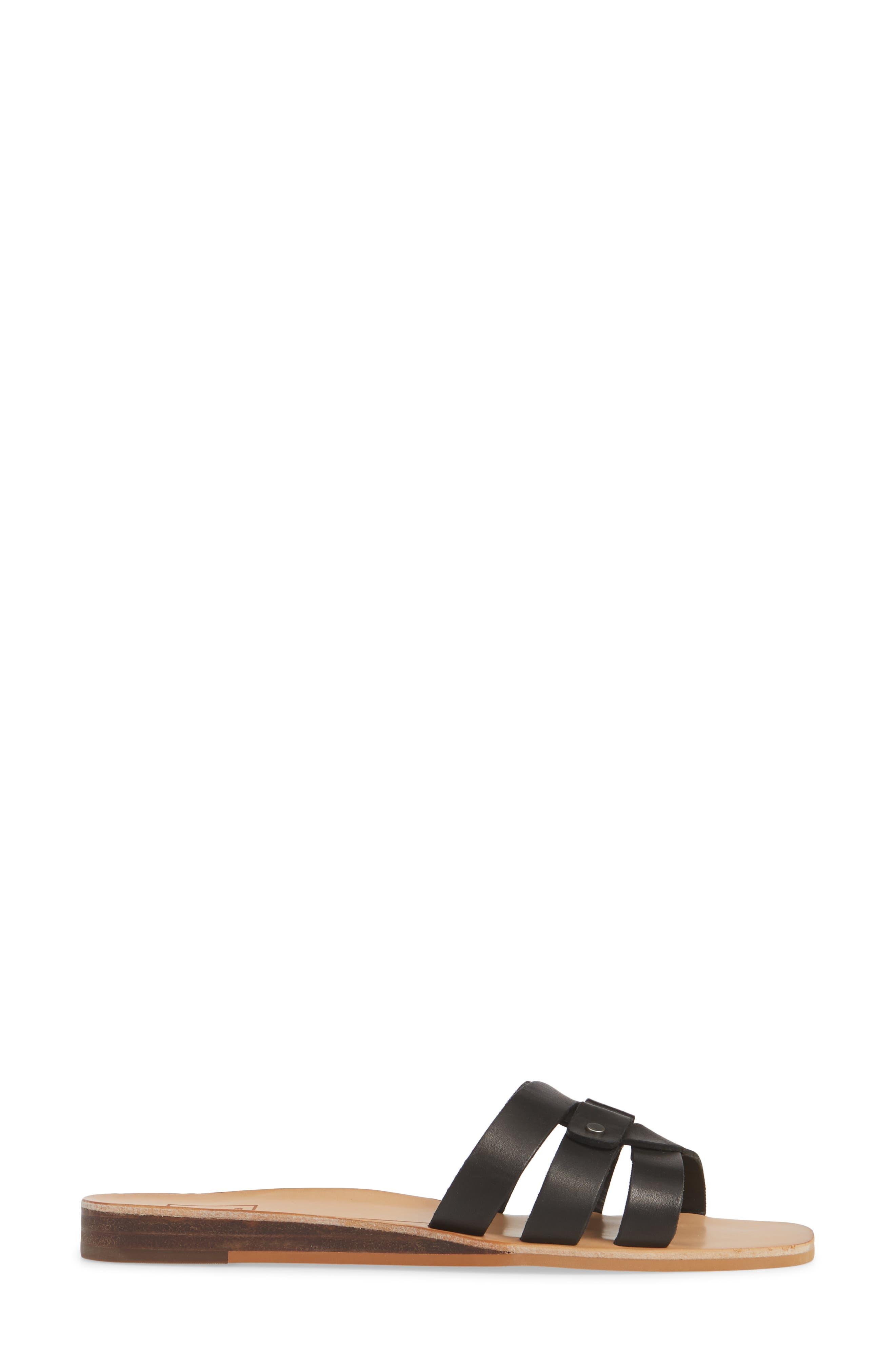 ,                             Cait Slide Sandal,                             Alternate thumbnail 4, color,                             BLACK LEATHER