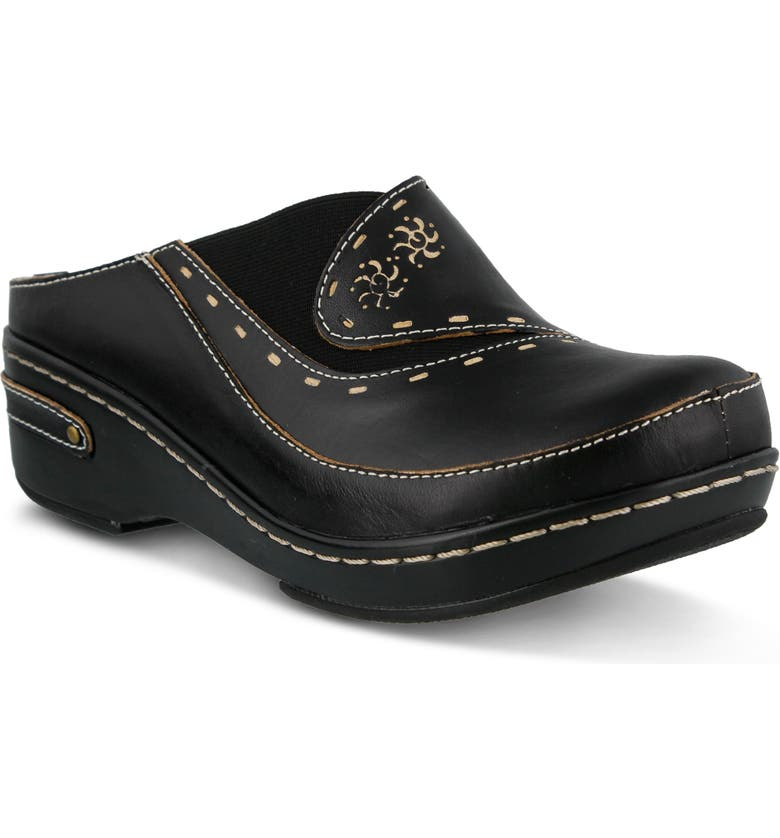 L'ARTISTE Chino Clog, Main, color, BLACK LEATHER