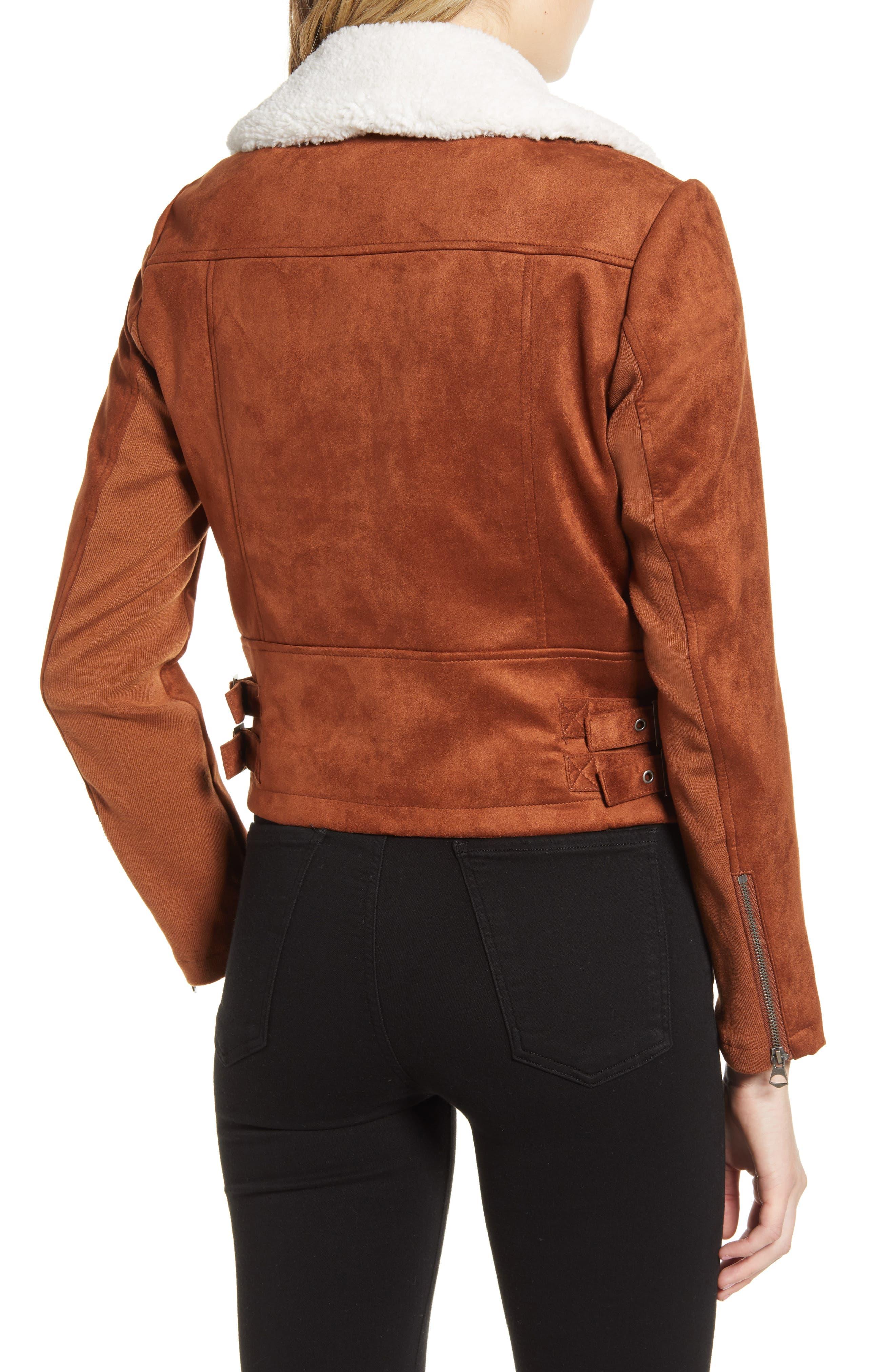 French Connection Coats Amaranta Faux Shearling Moto Jacket