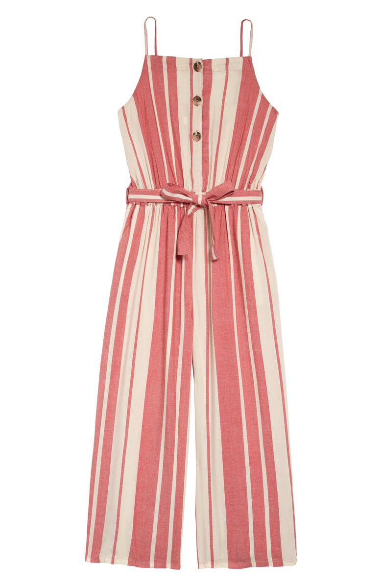 TREASURE & BOND Stripe Woven Jumpsuit, Main, color, RED MUM STRIPE