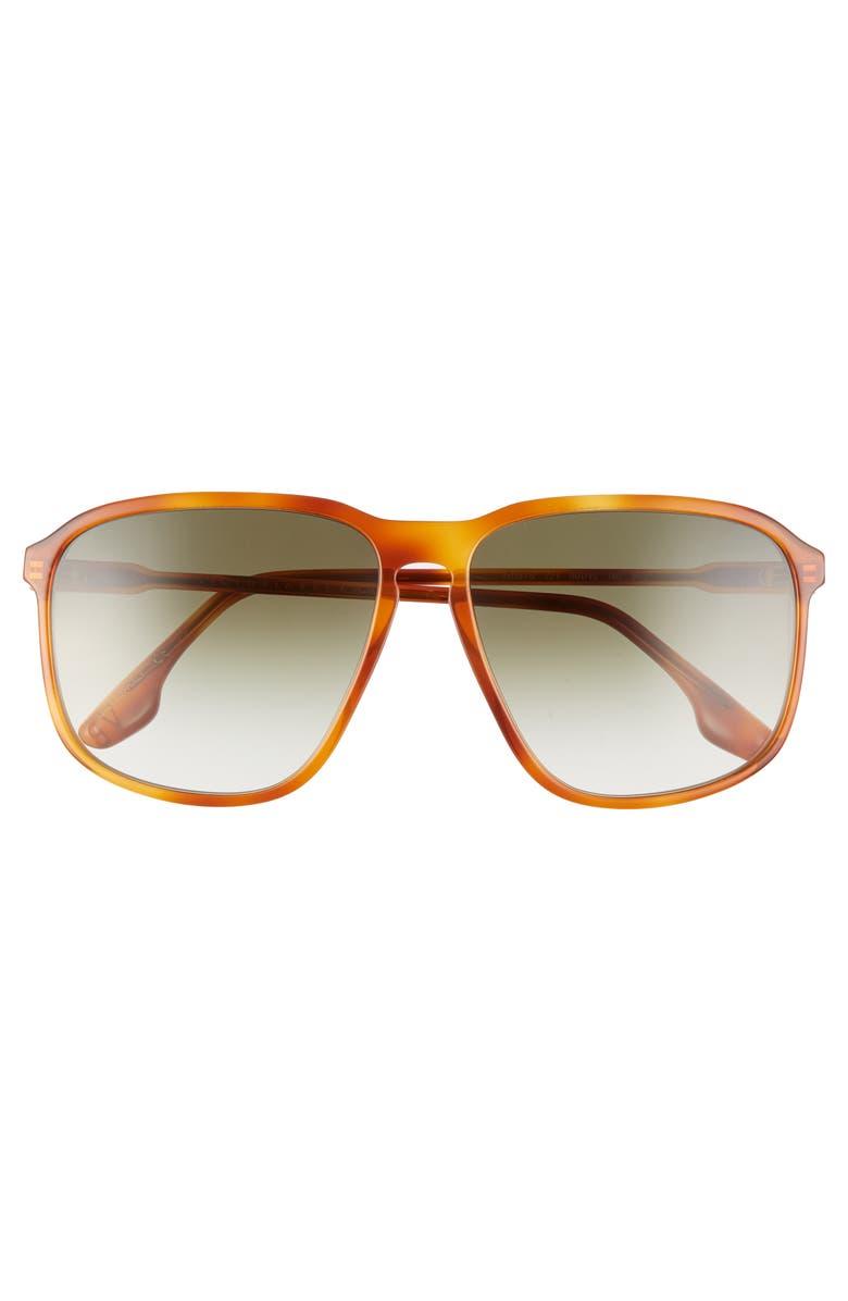 VICTORIA BECKHAM Guilloche 60mm Gradient Sunglasses, Main, color, VINTAGE HAVANA
