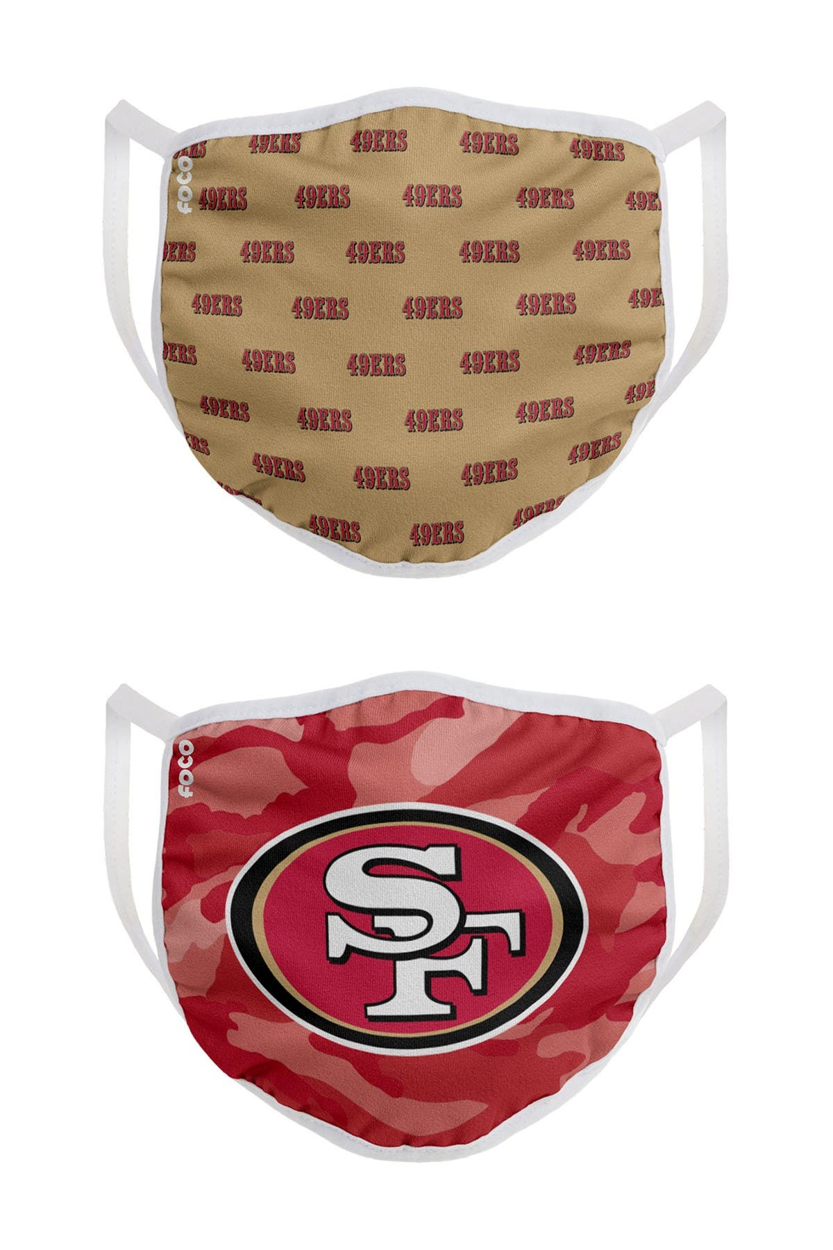 Image of FOCO NFL San Francisco 49ers Clutch Printed Face Cover - Pack of 2