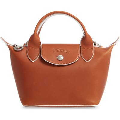 Longchamp La Pliage Cuir Small Leather Top Handle Bag - Brown