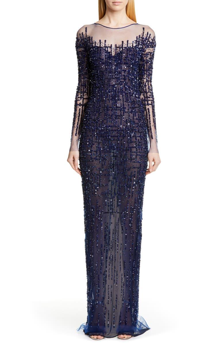 PAMELLA ROLAND Long Sleeve Sequin Column Gown, Main, color, 400