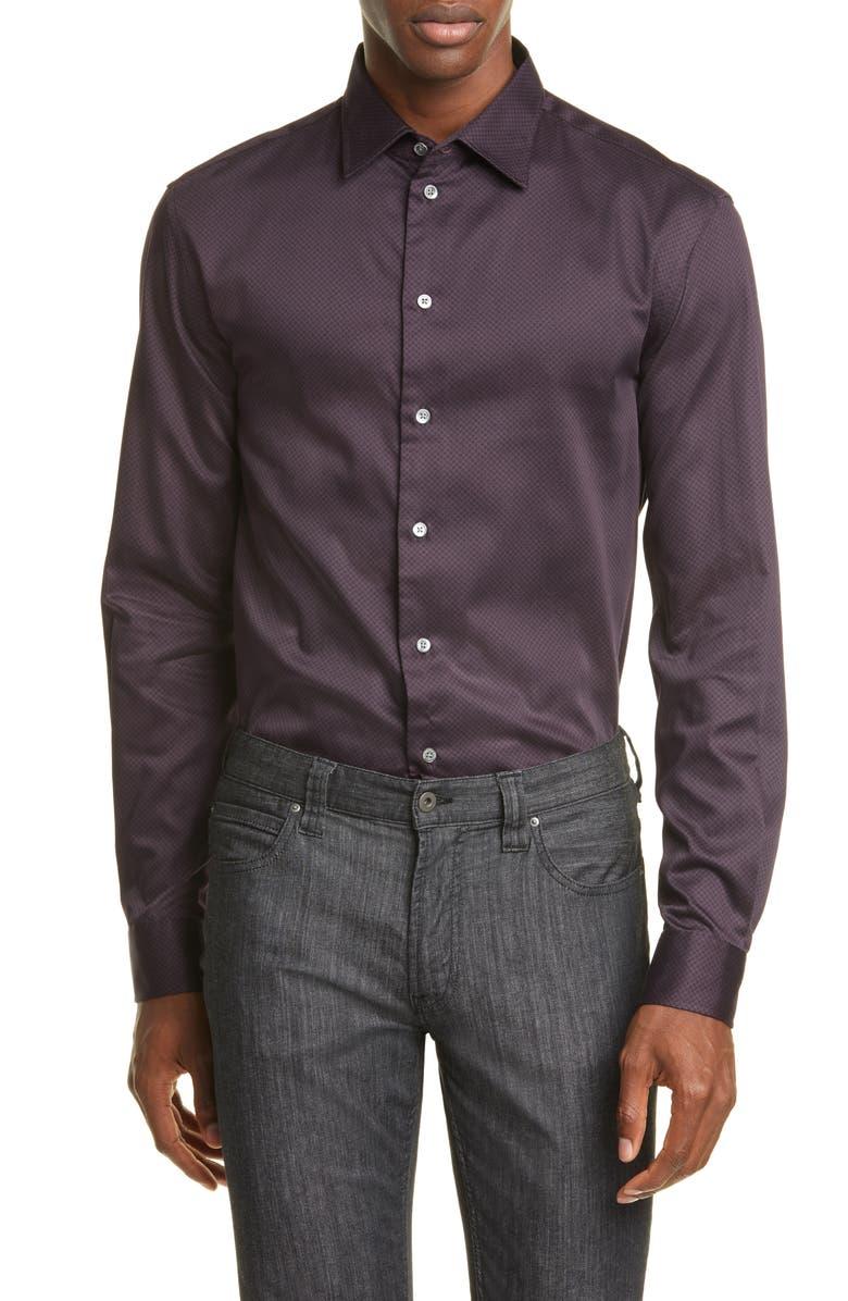 EMPORIO ARMANI Trim Fit Check Button-Up Shirt, Main, color, RUBY