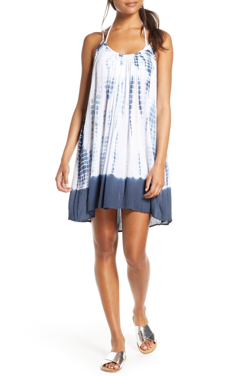 ELAN Tie Dye Cover-Up Slipdress, Main, color, TIE DYE BLUE