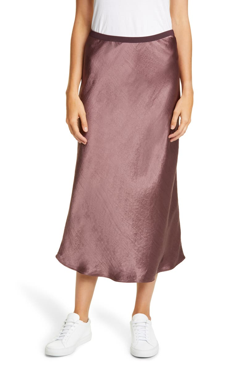 MAX MARA LEISURE Alessio Bias Cut Satin Skirt, Main, color, FARD