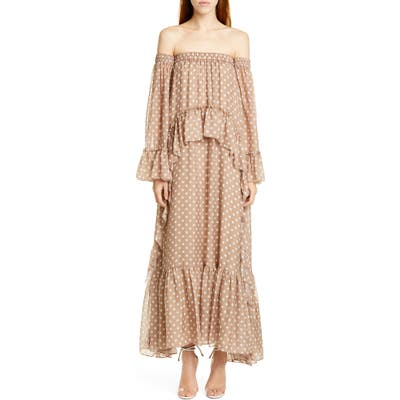 Amur Odessa Off The Shoulder Polka Dot Silk Maxi Dress, Brown