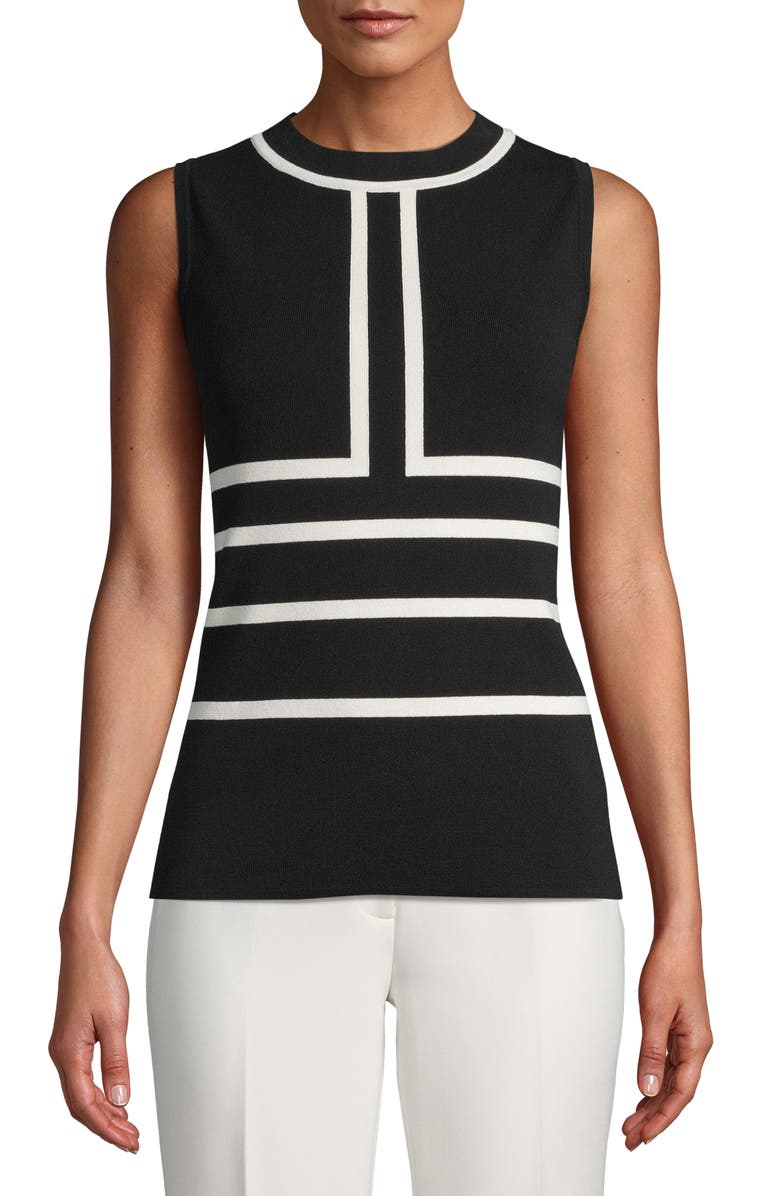 ANNE KLEIN Colorblock Sleeveless Sweater, Main, color, 001